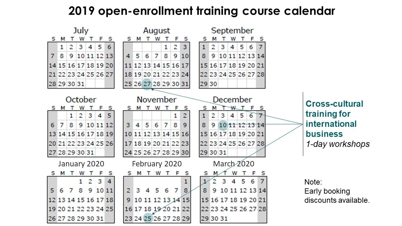 Training calendar for cross-cultural training (also called intercultural training)