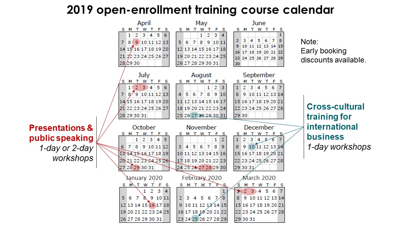 Training course calendar for 2019