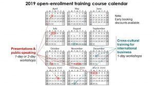 Training course calendar for 2019